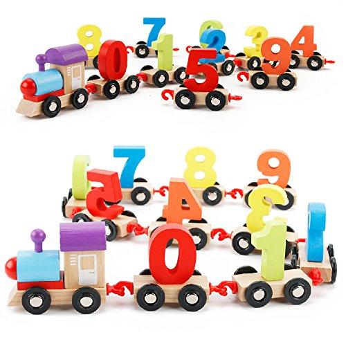 Gaddrt Mini-Digital-Zug-hölzerne Alphabet-Zahl-pädagogische Spielwaren-Bahnwerkzeuge für Kind Spielzeug