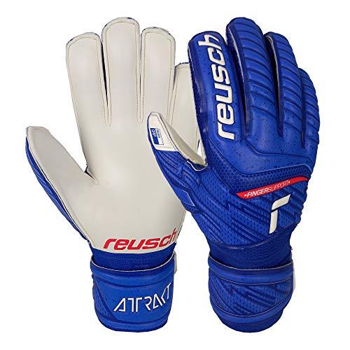 Reusch Unisex – Adulti Guanti da portiere attraenti Grip Finger Support, blu/bianco, 11