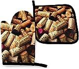 gong Corchos de Vino Fino Vintage con Etiquetas, Coloridas Mariposas, arcoíris, Cocina, Horno, Manoplas, Soporte para ollas, Resistencia al