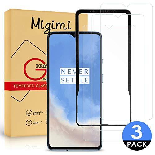 Migimi kogelvrij glas voor Oneplus 7T, [3 stuks met geleidingsframe] 9H hardheid Ultra-HD pantserglasfolie beschermfolie, zonder luchtbellen gehard glas screen protector voor Oneplus 7T, levenslange vervanging garantie