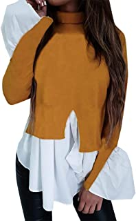 desolateness Womens s High Neck Long Sleeve Ruffle Stitching Irregular Hem Fashion Shirt Blouse Tops