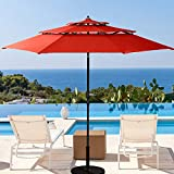 10. Patiassy 11 ft 3 Tiers Patio Umbrella Outdoor Patio Table Umbrella with Fade Resistant 240/Gsm Solution-Dyed Fabric, Push Button Tilt and Crank for Garden, Lawn, Backyard and Pool, Red