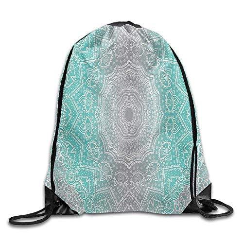 Etryrt Mochilas/Bolsas de Gimnasia,Bolsas de Cuerdas, Grey and Turquoise Primitive Spiritual Essence and Universe Harmony Mandala Ombre Bags School Backpack
