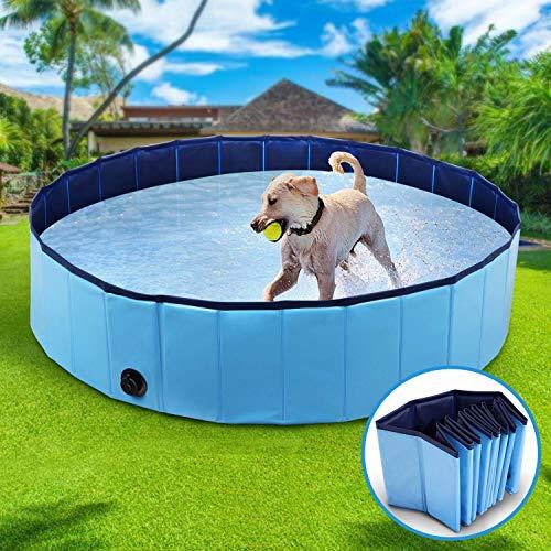 Hundepool Schwimmbad für Hunde, Hundeplanschbecken Hundebad, 80*20CM Klappbares Haustier-Duschbecken mit Umweltfreundlichem PVC rutschfest