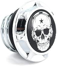 CNC Aluminum Fuel Gas Tank Oil Cap For Harley Davidson Sportster XL 1200 883 X48 Dyna - Skull (Chrome)
