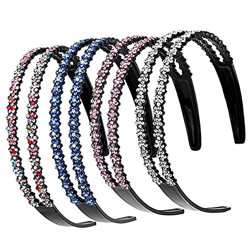 4 stycken strass hårband, fashionabel strass hårband, kristall halkfritt hårband, halkfritt pannband kristall, lämplig för kvinnor flickor skådespelare gåvor ledig (4 färger)