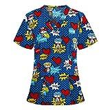 Tops de Enfermera Uniforme Mujer Estampado Camisa de Manga Corta Uniforme de Trabajo Impresión navideña Top de Enfermera con Cuello de Pico Traje de Navidad
