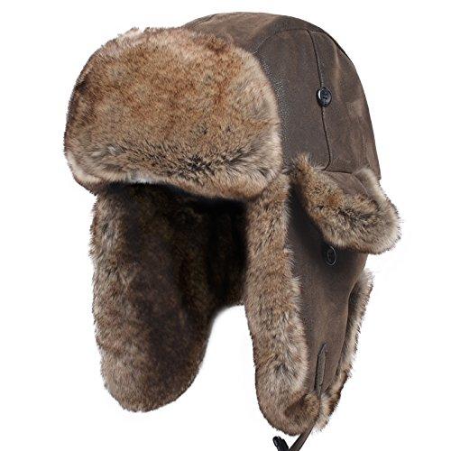 Janey&Rubbins Unisex Winter Knit Russian Ushanka Cossack Trapper Bomber Aviator Cap Hat (L, Leather Brown)