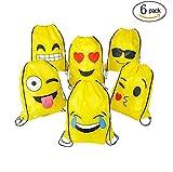 FUNNY HOUSE Emoji Bolsas de Cuerdas,Emoji Cordón Mochila Bolsas Regalo Cumpleaños Deporte Gimnasio Backpack para Niños Niñas Fiesta (6Pcs)