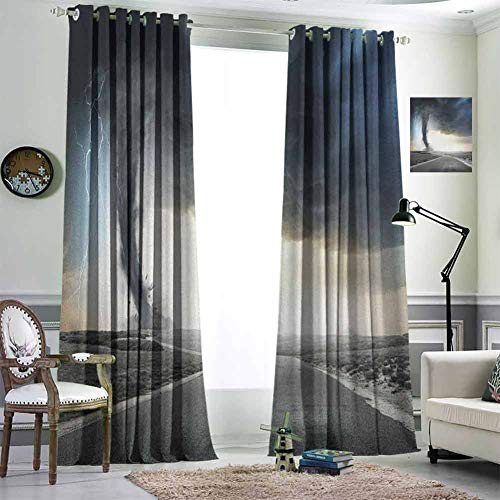 "Blackout Curtains for Living Room- Blackout Window Curtain Black Tornado Funnel Gas and Thunder Rolling on the Road Fume Disaster Monochrome Print Bedroom Living Room Kitchen Decoration W84""x L107"""