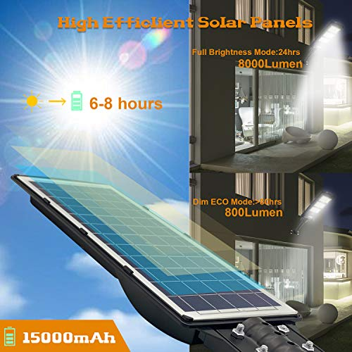 2 Pack Solar Street Light, 6000LM LED Solar Power Street Lamp Outdoor Dusk to Dawn for Parking Lot, Yard, Garage and Garden