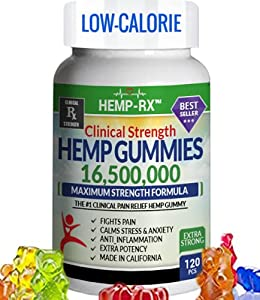 Gummies for Pain, Anxiety, Sleep, Stress - 120 Pieces, Low Calorie - 16,500,000 Extra Strength - Gummy Supplement - Omega 3, 6, 9