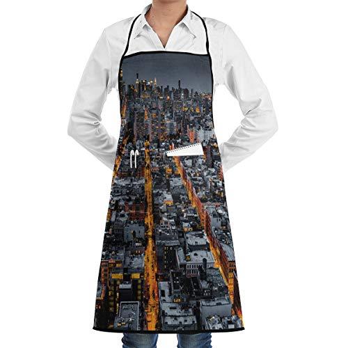PONIKUCY Schürze Kochschürze,City Avenues to Midtown NYC Drucken,Küchenschürze Latzschürze Nackenband