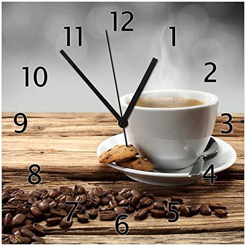 Wallario Glas-Uhr Echtglas Wanduhr Motivuhr • in Premium-Qualität • Größe: 30x30cm • Motiv: Heiße Tasse Kaffee mit Kaffeebohnen