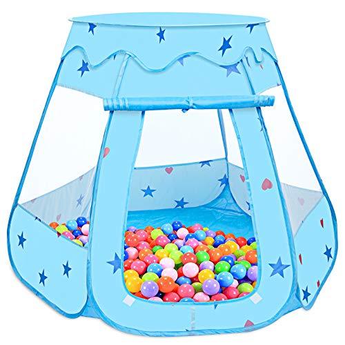 Tenda da Gioco per Bambini, MOOKLIN ROAM 115 x 93cm Piscinetta da Gioco Pieghevole, Piscine di Palline Pop Up Tenda per Interni ed Esterni con Borsa Cerniera (Palline Non Incluse) - Blu