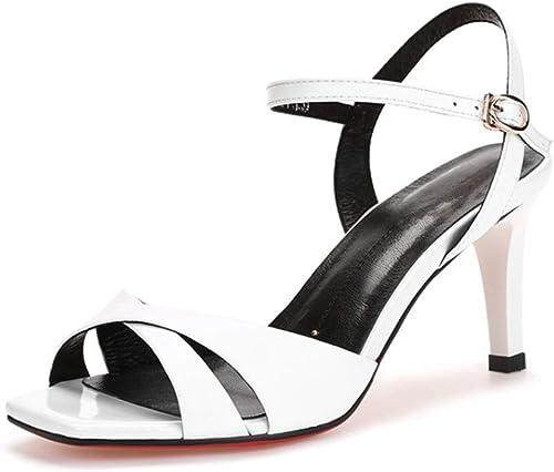 HmDco Peep Toe Sandals pour Femmes, Chaussures à à tête carrée, à Talons Hauts, Noir  Réponses rapides