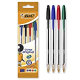 BIC Cristal Original Stylos-Bille Pointe Moyenne (1,0 mm) - Couleurs Assorties, Un Paquet de 4