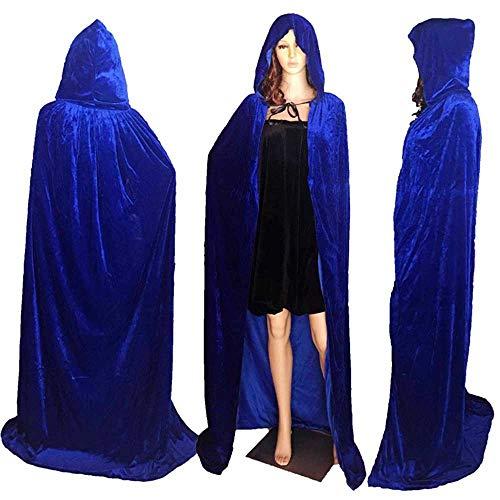 ZHOUZJ Largo Capa Vampiro Diablo con Capucha Terciopelo Disfraz de Halloween para Mujeres Hombres Carnaval Fiesta Disfraces,Azul,M