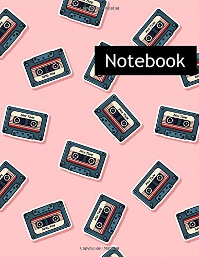 Retro Mix Tape Stickers : College Ruled Notebook & 2020 Planner: Lined notebook Gift, 120 Pages, 8.5x11, Soft Cover, Matte Finish
