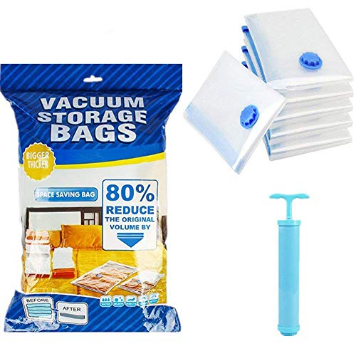 LITZEE Vakuumbeutel mit Handpumpe, 6 Pack Vakuum Aufbewahrungsbeutel XXL für Kleidung, Bekleidungs-Deckbetten, Bettwäsche Kissen Vorhang, Space Saver Taschen- 80 * 120cm