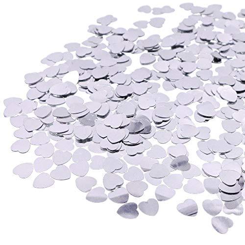 JZK 5000 pcs 1cm plástico especular corazón Amor Plateado Confeti Boda Mesa Comedor Confeti dispersar Decoraciones Mesa para Boda cumpleaños día San valentín Fiesta Bienvenida bebé gallina Fiesta