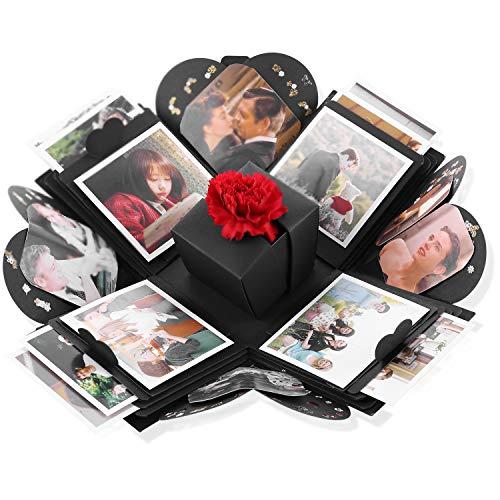 VPCOK Kreative Überraschung Box Explosionsbox DIY Geschenkbox mit 8 Themen für Geburtstag Jahrestag Weihnachten Hochzeit Muttertag (Schwarz)