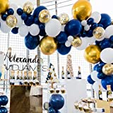 80 pcs Navy Party Balloons,12 inch Metallic Sea Blue/Pearl White/Gold Latex Balloon and Confetti Balloons for Boys Birthday Party Baby Shower Navy Party Decoration