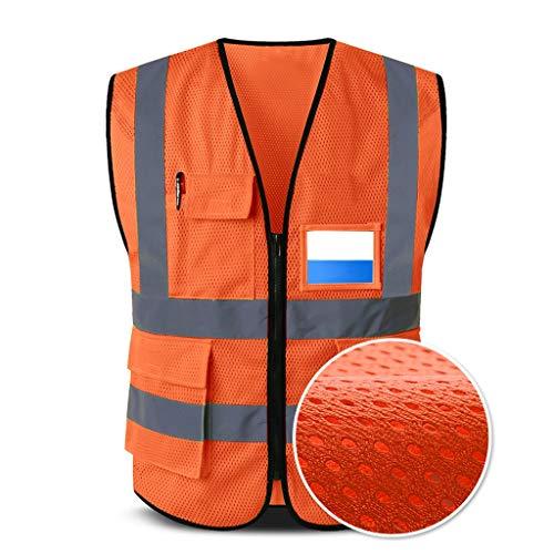 Reflecterend veiligheidsvest ademend net werkkleding met meerdere zakken, veiligheidsvest, reizen 's nachts veilig, unisex Liuyu.