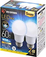 Iris Ohyama LED Bulb, Base Diameter 1.0 inches (26 mm), Wide Light Distribution, 40 W Equivalent, Pack of 2, Compatible...