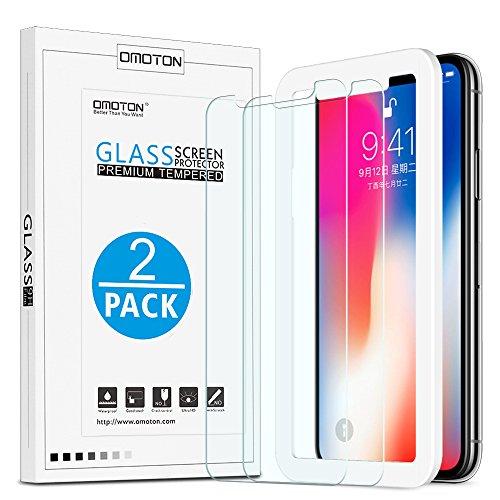 OMOTON Schutzfolie kompatible mit iPhone XS/iPhone X/iPhone 11 Pro,mit Schablone,9H Festigkeit,Anti-Kratzen, Anti-Öl,5.8 Zoll