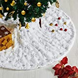 DmgicPro 48 Inch Christmas Tree Skirt Large Thick Faux Fur Snowy Silver Sequins White...