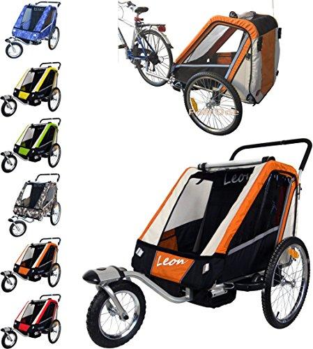 Leon PAPILIOSHOP Rimorchio Passeggino Carrello per Il Trasporto di 1 2 Bambini (Arancione)
