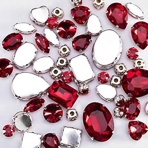 Siam strass-steentjes, kristal, rood, met glazen stenen, voor kleding, decoratie, kleur flatback om op strass, 50 stuks, S047