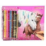 Depesche 5757 – Livre de coloriage avec 10 Crayons de Couleur et Un Stylo Fin, Miss Melody, env. 26 x 21 x 2 cm.