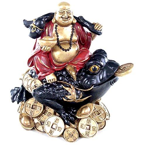 Puckator BUD77 Bouddha sur Drapeau, Résine, Noir/Rouge/Doré, 15 x 15 x 19 cm