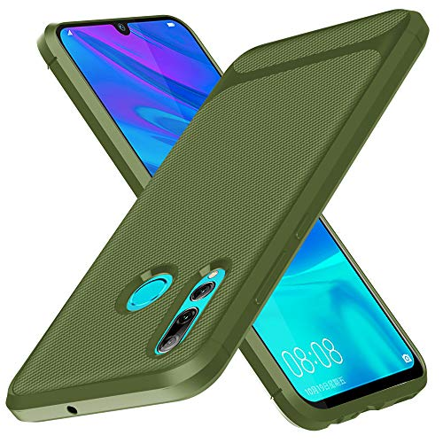 Miagon Kohlefaser Hülle für Huawei Honor 20 Lite,Weiche Silikon Slim Dünn Stoßfest TPU Handyhülle Hybrid Case cover Schutzhülle,Grün
