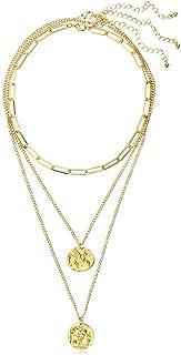 قلادة ذهب أبيض من ليلي للنساء سلسلة ميدالية كلاسيكية