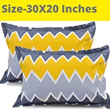 "Roseate® 120 TC Designer Printed 2 Piece Cotton Pillow Cover Set , 20""x30"" , Yellow Silver"