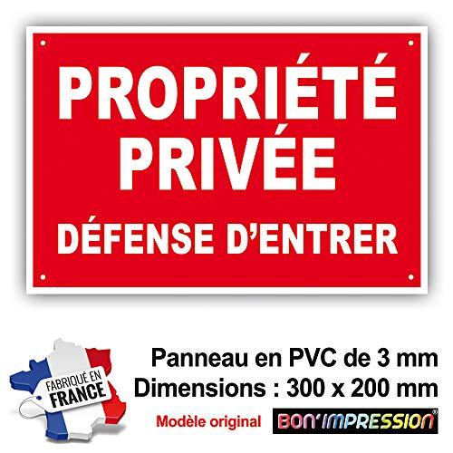 PANNEAU PROPRIETE PRIVE - DEFENSE D'ENTRER - 300 x 200 mm en PVC + 4 trous pour fixation
