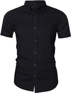 INVACHI Men's Casual Button Down Short Sleeve Shirts Slim Fit Denim Dress Shirts