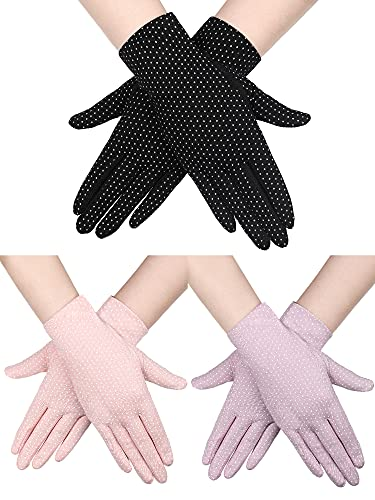 Boao 3 Pairs Women Sun Protective Gloves UV Protection Sunblock Gloves Touchscreen Gloves for Summer Driving Riding (Black, Beige, Grey)