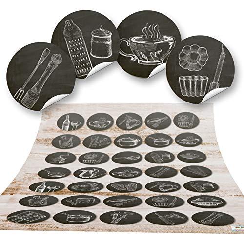 3 x 35 kleine runde SCHWARZ WEISS Küchenaufkleber vintage alt Küchen-Deko Sticker Nostalgie selbstklebend Küchenutensilien Geschirr Besteck