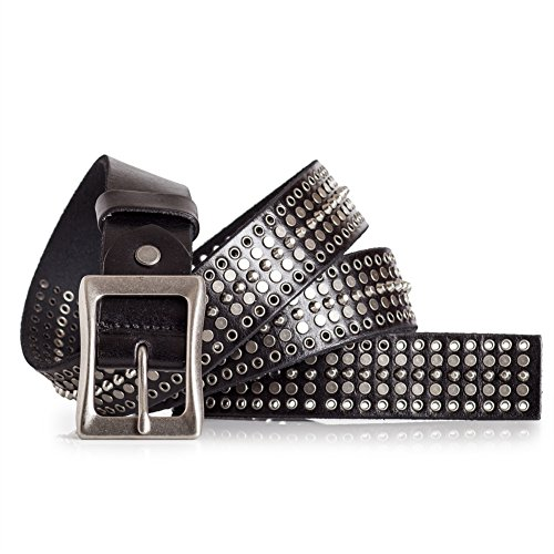 LATICCI Cool Black Leather Belt with Rivets Mens (44)