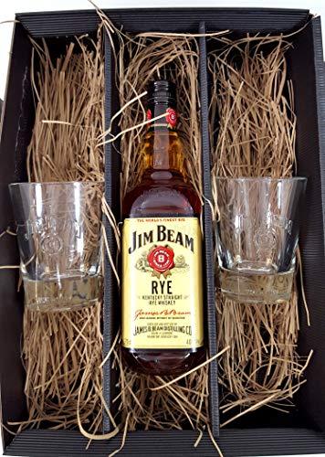 Jim Beam Set/Geschenkset ? Jim Beam RYE Whiskey 0,7l 700ml (40% Vol) + 2x Tumbler