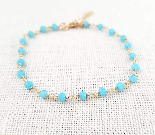 Blue Chalcedony Bracelet - Gemstone Jewelry - Wire Wrapped Rosary Chain - 14k Gold Filled - Gift for Her