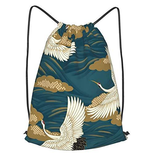 ジムバッグ ナップサック 日本 着物 クレーン 巾着 バッグ スポーツ 部活用バック 体操着入れ 収納バッグ 軽量 防水 運動 旅行 男女兼用