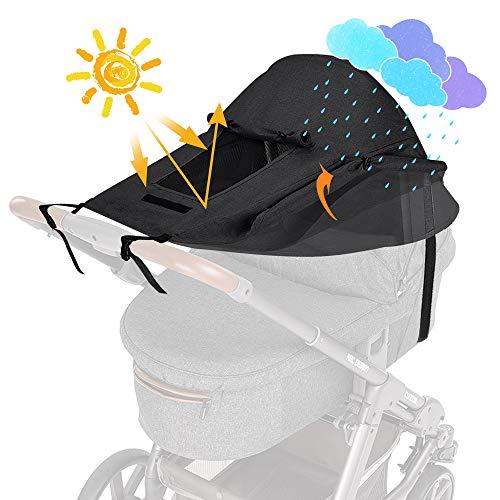 WD&CD Sonnensegel Kinderwagen mit UV Schutz 50+ und Wasserdicht, Double Layer Fabric mit Sichtfenster und extra breite Schattenflügel- schwarz