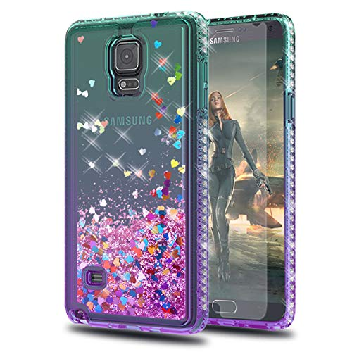 KaiMai Note 4 Case, Galaxy Note 4 Cases with HD Screen Protector, Glitter Moving Quicksand Clear Cute Shiny Girls Women Phone Case for Samsung Galaxy Note 4-Aqua/Purple