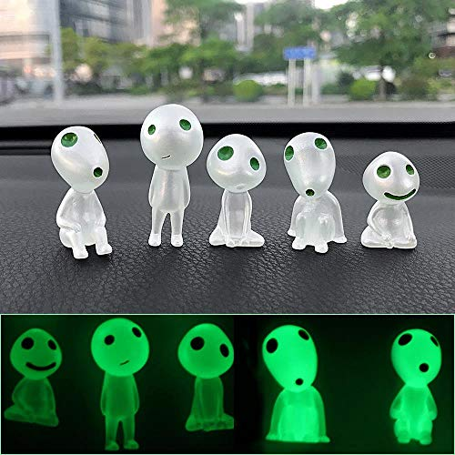 Z-MIN 5PCs/Lot Car Ornaments Resin Tree Elves Doll Automotive Interior Dashboard Decoration Forest Spirit Elf For Princess Mononoke