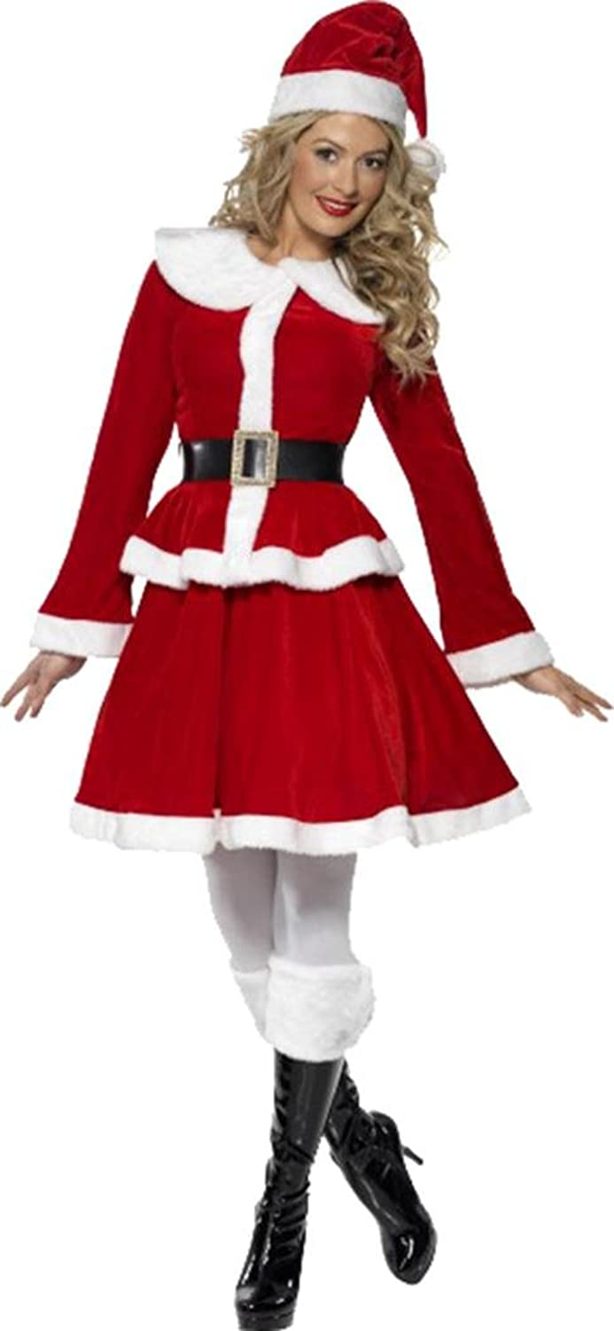 Ladies Christmas Fancy Dress Party Outfit Female Miss Santa Costume with Muff